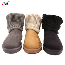 CF-134 Free Samples Ankle Pattern Knitted Fabric And Genuine Leather Winter Boots For Women Columbia