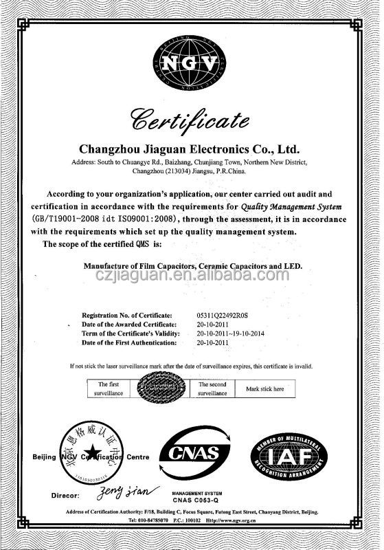 Y1Y2 safety standard ceramic capacitor