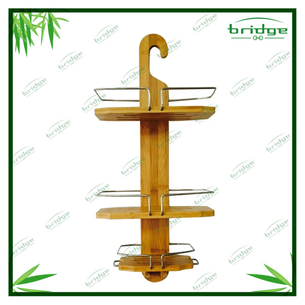 Hot sale bamboo wooden shower caddy