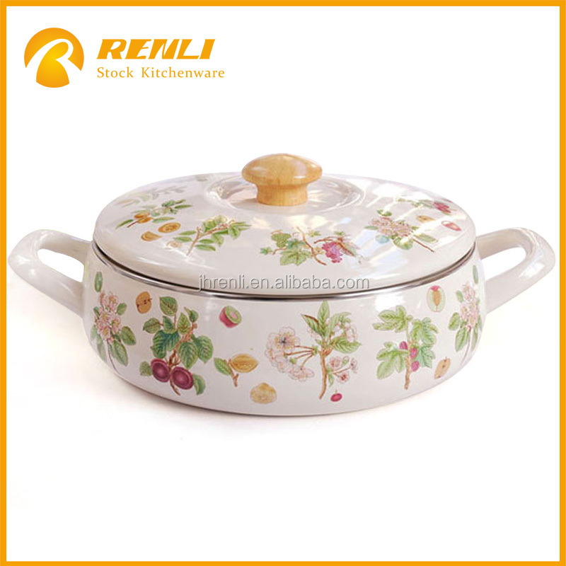 China overstock lots 22cm induction cooking shallow round enamel decal flowers cookware casserole pot with knob/kitchenware pot
