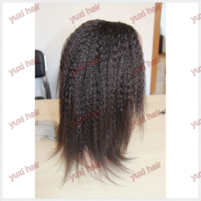Cheap kinky straight full lace wig ,real kinky straight