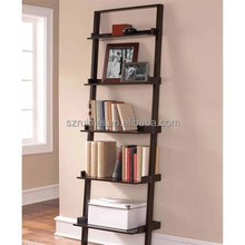 Leaning Ladder 5-Shelf Bookcase Metal Book Shelf
