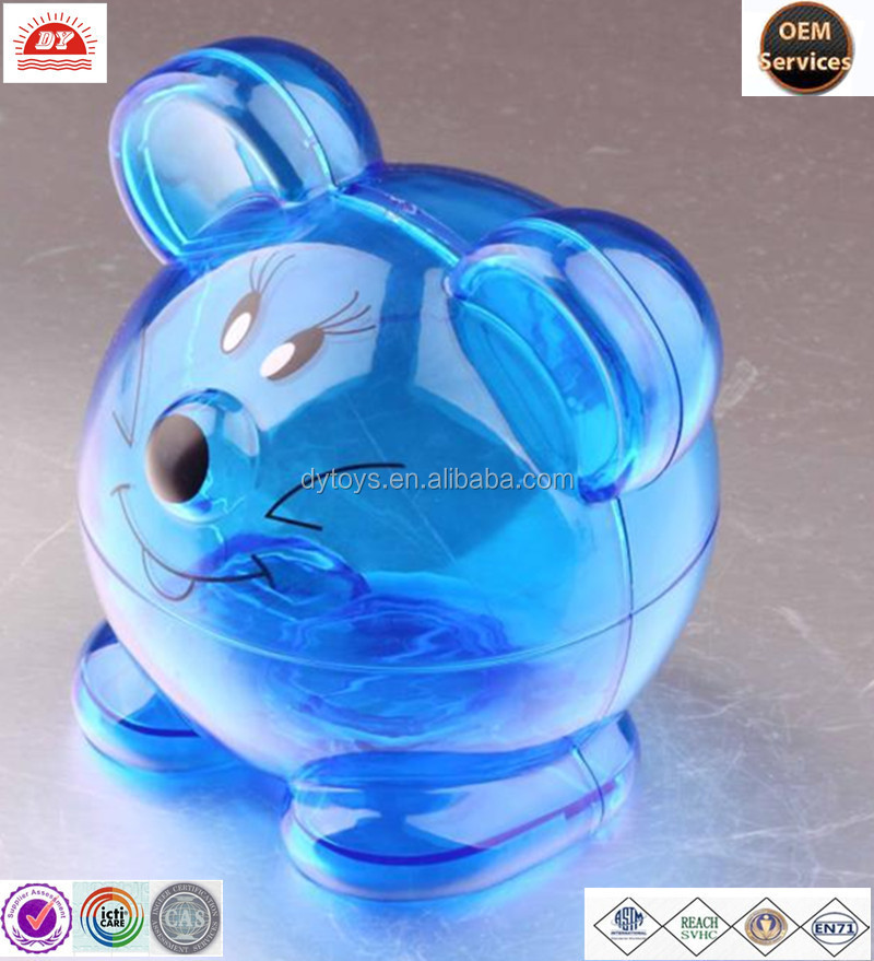 Custom Made Plastic Blue Transparent Money Box