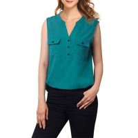 Custom V-Neck Blouses Sleeveless Button Casual Chiffon Tunic Shirt For Women