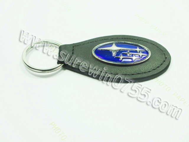 oval shape Embossed Logo Leather Keyring with discount price