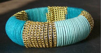 Thick Circle shape light blue silk thread bangle with golden chain