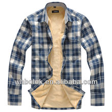 OEM Winter warm man fleece lined plaid flannel shirt fur bonded thick shirts