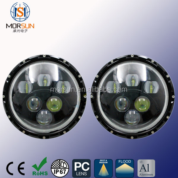 b2b 60w blue ring led driving lights round 7 inch headlight for off road jeep suv tractor truck