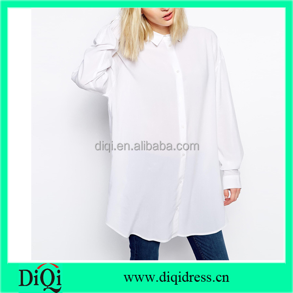 guangzhou women oversized tops blouse casual women plus size white blouses with collar women apparel