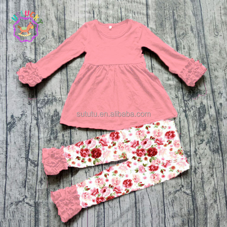 Sue Lucky vintage floral printed newborn baby girls cotton clothes wholesale