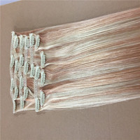 Wholesale 8a Grade mixed color clip in hair colored extensions with brazilian human hair