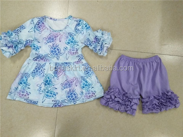 Girls fancy clothes lavender icing shorts sea turtle pattern pearl tops toddler girl clothes