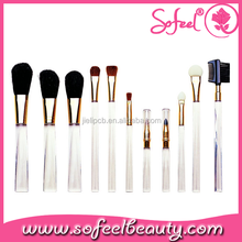 crystal handle 11pcs cosmetic brush kit with pony hair