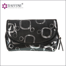 Factory Sell knitted fabric covered with PVC black Zipper Makeup Bag