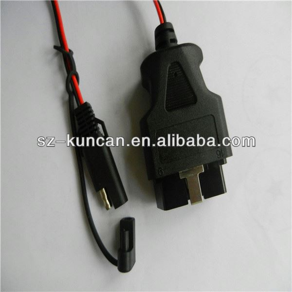 12V super for honda hds obd2 cable car power cable red and black with protection clip and LDE