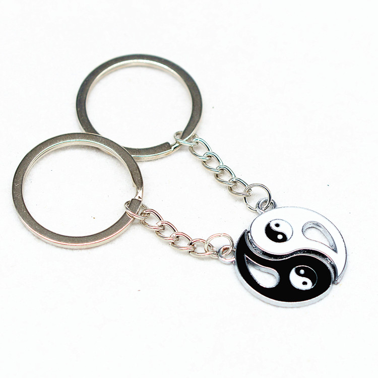 Black And White Enamel Customized Metal Chinese Yin Yang Keychain