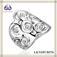 High Quality China Wholesale Silver Plating Carving Flower Wedding Ring For Lady