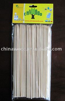 round bamboo BBQ skewers with designed card