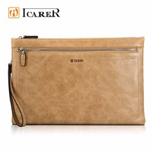 ICARER Genuine Leather Laptop Zipper Sleeve for iPad Pro 12.9/MacBook Air 13 inch