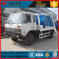 Competitive price!! DFAC EQ1100LJ13DC 6 wheel 140hp waste collection truck 6000L for sale in dubai,swing arm garbage truck sale