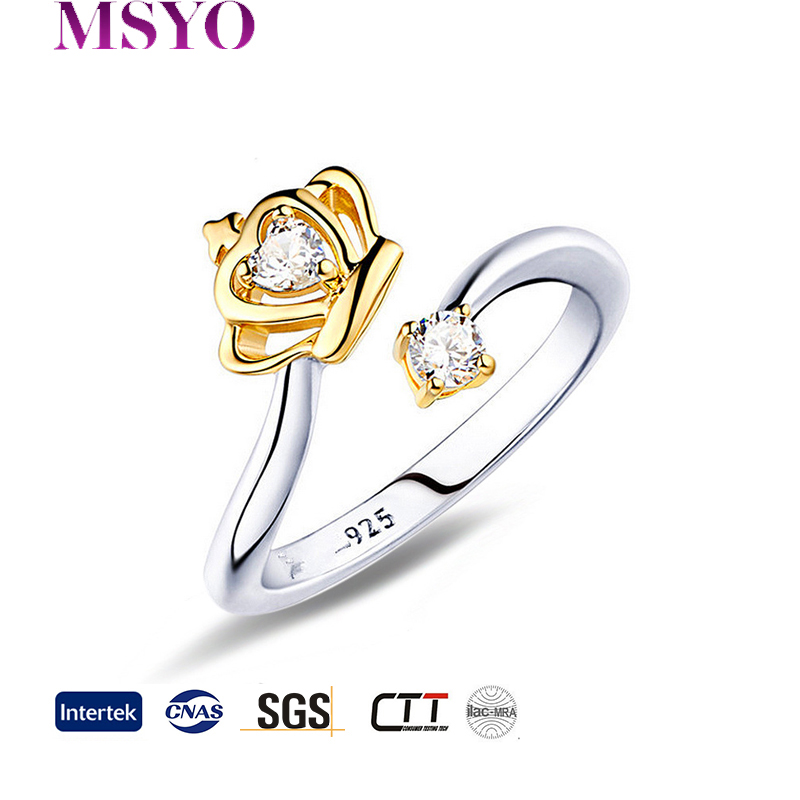 MSYO brand latest crown diamond wedding silver ring opening latest designs gold ring