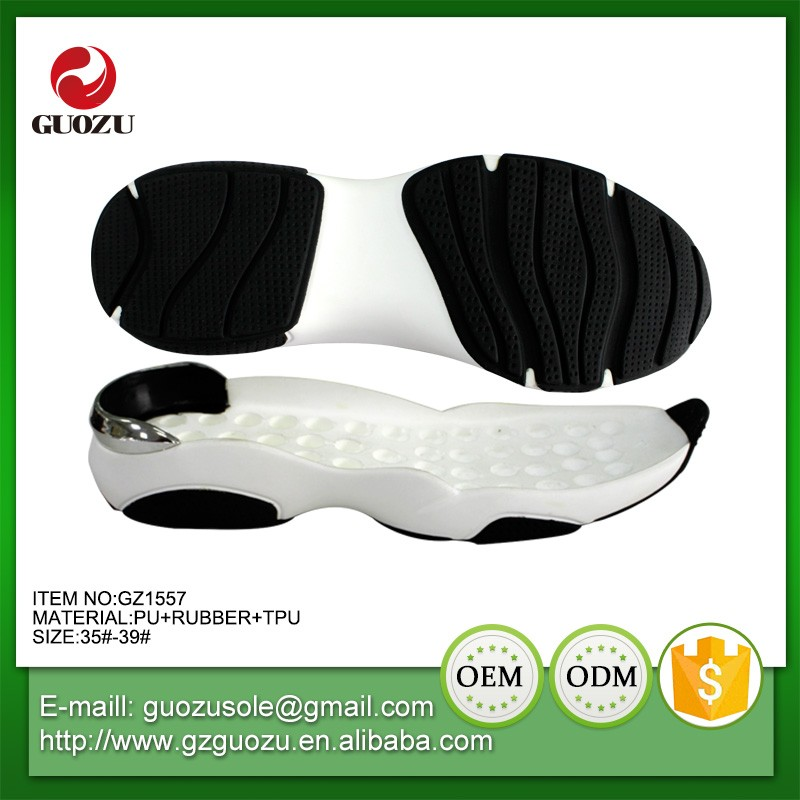 Lady sports shoe type sole rubber and pu sports shoes sole