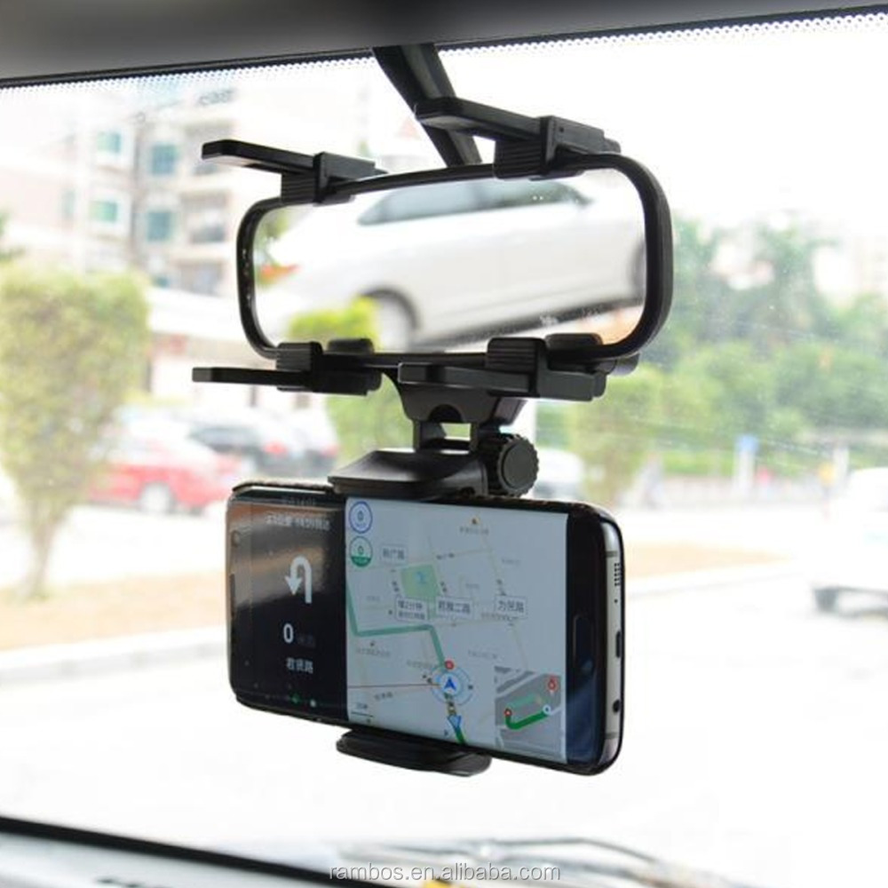 Universal Rearview Mirror Car Mount Clamp Mobile Phone Holder for iPhone 7 7 Plus 6 6 Plus