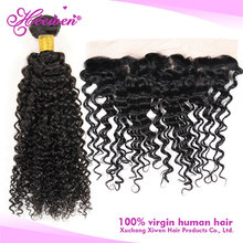 Wholesale Virgin Brazilian Curly Frontal Silky Base Lace Closure with Human Hair Bundles