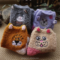 Yhao custom cute cartoon embroidery stereo ear design terry loop fuzzy sock wholesale girls' colorful non slip sleeping sock