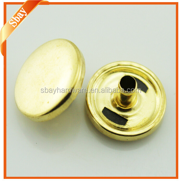 Metal press stud buttons for garments