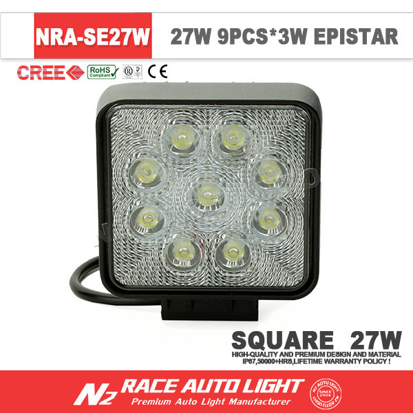 IP67 waterproof led off road driving light portable square super bright 27w led work light