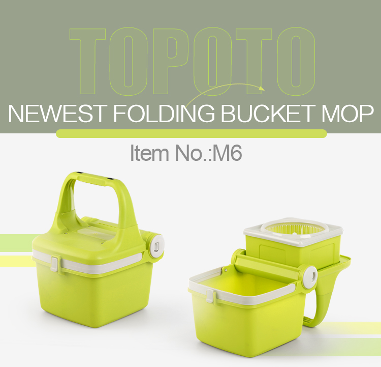 TOPOTO Folding Bucket Cosway Microfiber Floor Magic Rolling Mop
