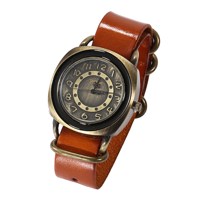 cheaper promotional alloy case leather band custom logo watches for men