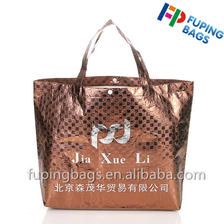 Direct selling recycled non woven tote bag laser film shopping bag for garment with custom printed