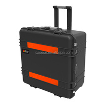 Rhino durable plastic tool box rolling military case with cubed foam