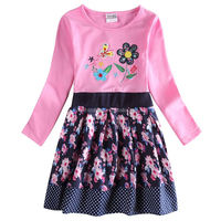 H6241Y PINK 2-6y 2015 new girl dresses nova kids wear print my little flowers frock kids dress nova kids children dress