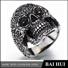 Biahui Jewelry-316 Stainless Steel Mens Gothic Biker Jewelry Skull Ring Oxidized Black/Hot Sale Quality Biker Jewelry Rings