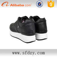 Comfortable durable reasonable price black PU casual shoes for ladies