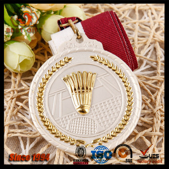 Hot sale high quality custom 3D badminton metal medal