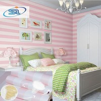 Free shipping tax to russia 4rolls/lot Modern striped wallpaper girl kids children room wallpaper papel de parede non-woven