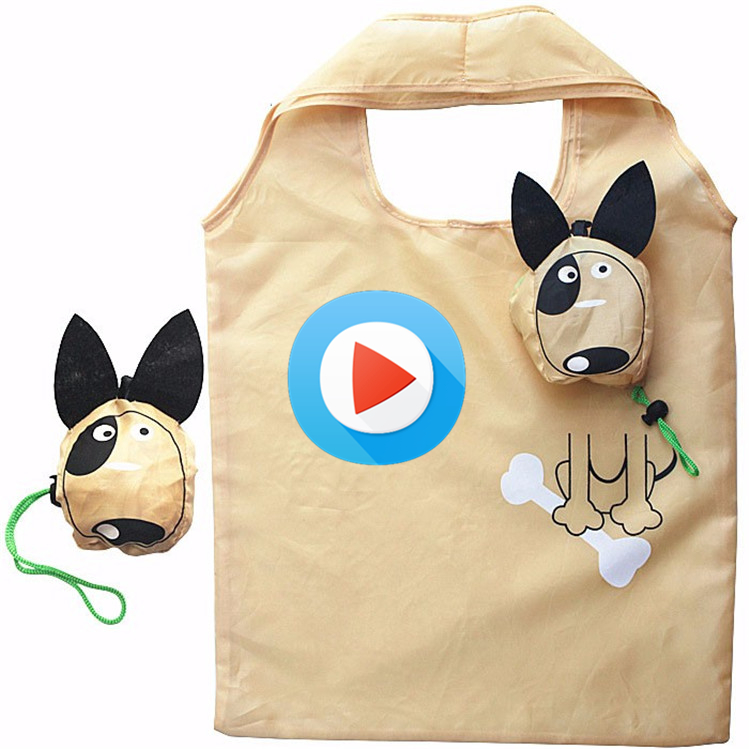 Polyster Tote Shopping Bag Monkey Pig Cow Dog Straverry Foldable Shopping Bags E-co Reusable Folding Recycle Shopping Bag