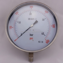 All Stainless Steel 250mm Pressure Gauge EN 837-1
