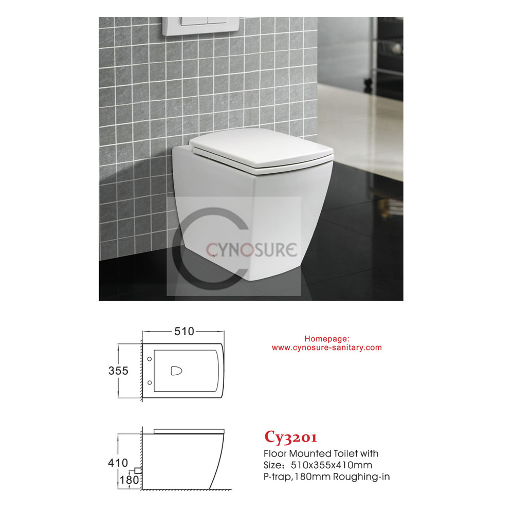 CY3201FM-sanitary ware WC floor mounted toilet with Soft Close Seat Cover