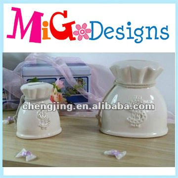 China Production White Ceramic Saving Bank Money Box