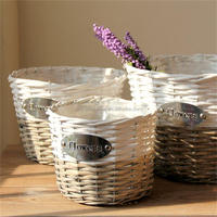 Vintage white&grey wicker basket garden basket for plants