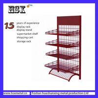 metal storage under revolving corner basket collapsible display shelf HSX-Z-510
