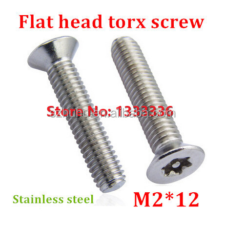 100pcs M2*12 Countersunk Head <strong>Torx</strong> <strong>Screw</strong> 6-Lobe Bolt / Security Anti-theft with Pin Flat Machine <strong>Screws</strong> with Free <strong>Torx</strong> Key