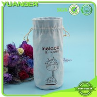 Light Blue Printing Cotton Muslin Wine Drawstring Bag Manufacturer