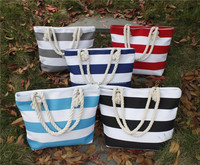 2015 Stripe women canvas handbag, whosale canvas tote bag, canvas beach bag