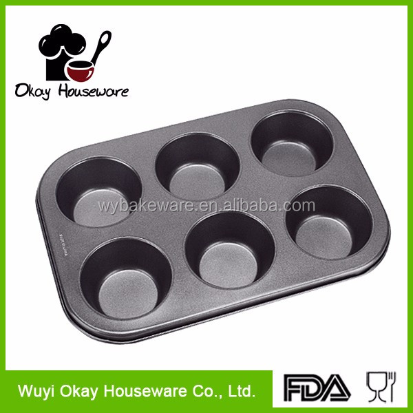 6 Cup Non Stick Carbon Steel Shallow Muffin Cake Baking Pan Tray Tin Bakeware Baking Dish(BK-A0609)